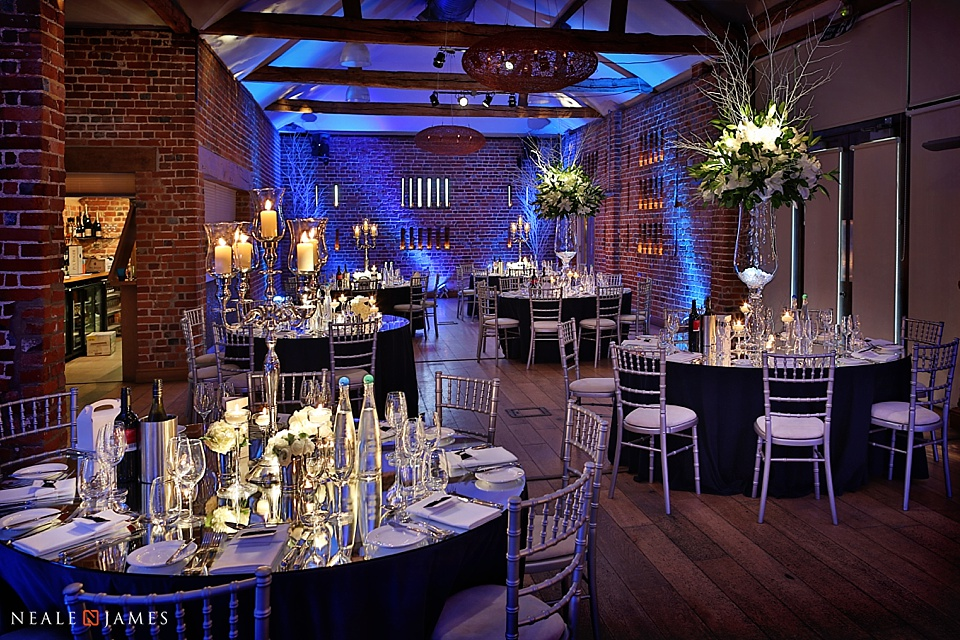 The Castle Barn set for dinner