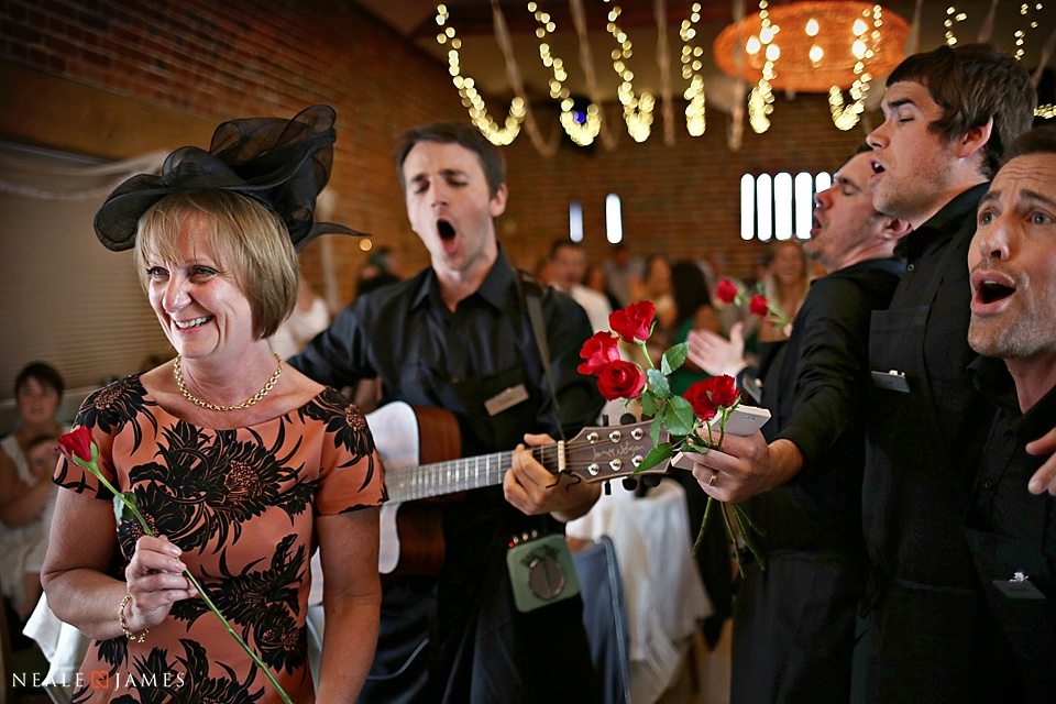 Colour photo of evening wedding entertainment singers