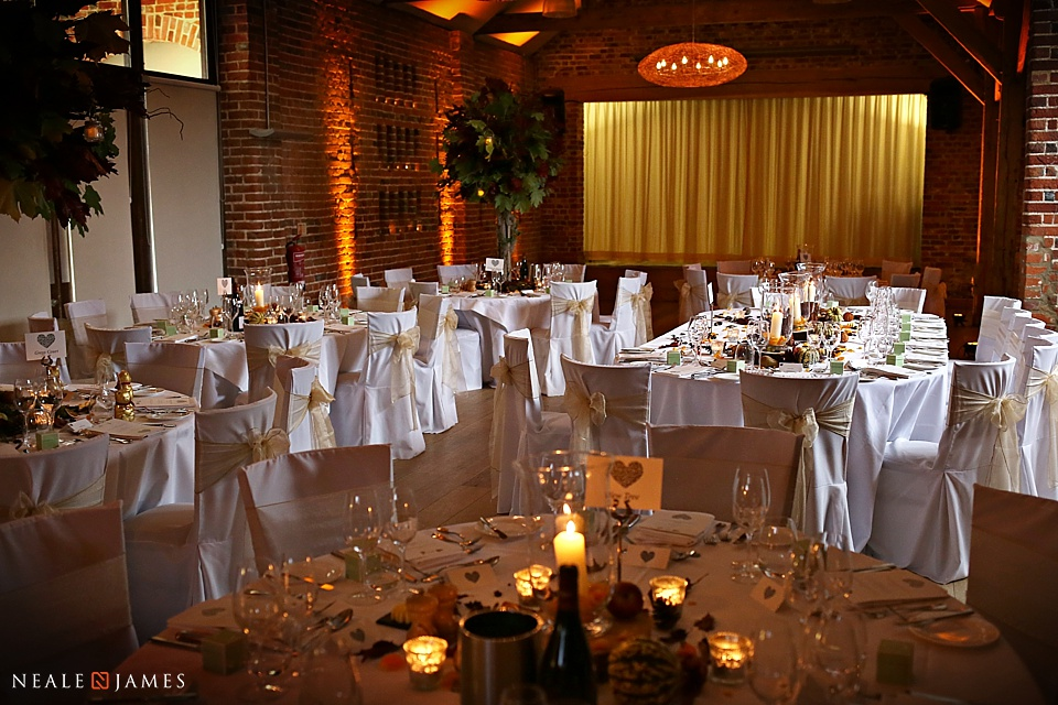 The Castle Barn set for wedding banquet