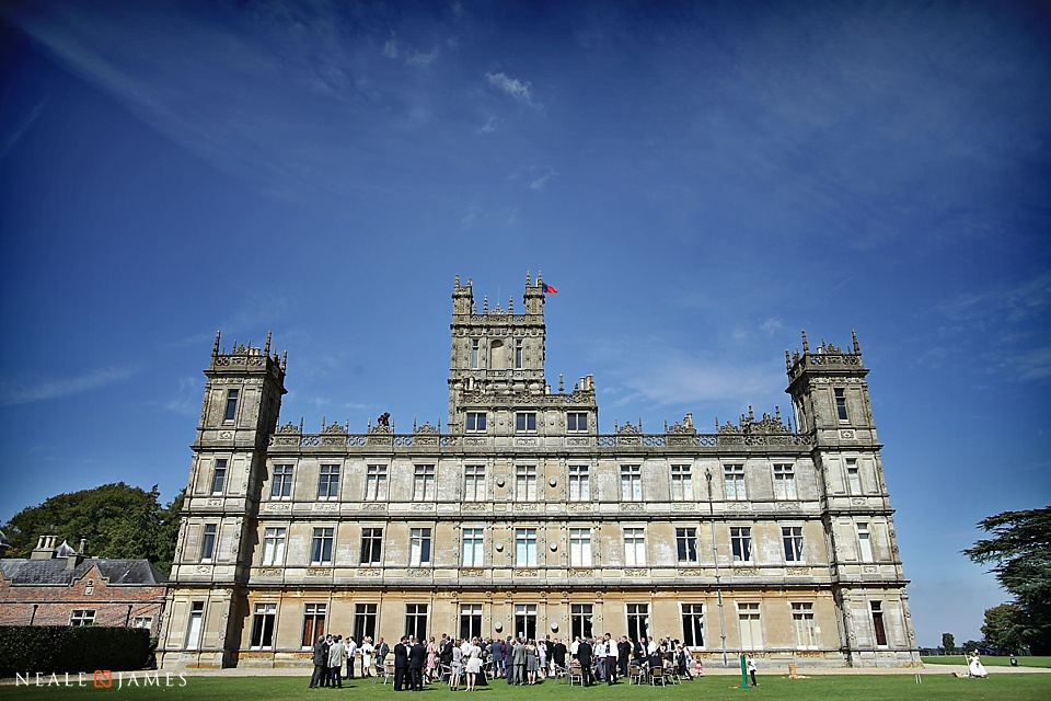 Photograph on sunny day of Highclere Castle