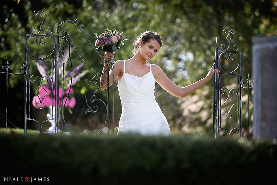 Wedding photo from the Sanctum on the Green featuring a bride and her bouquet