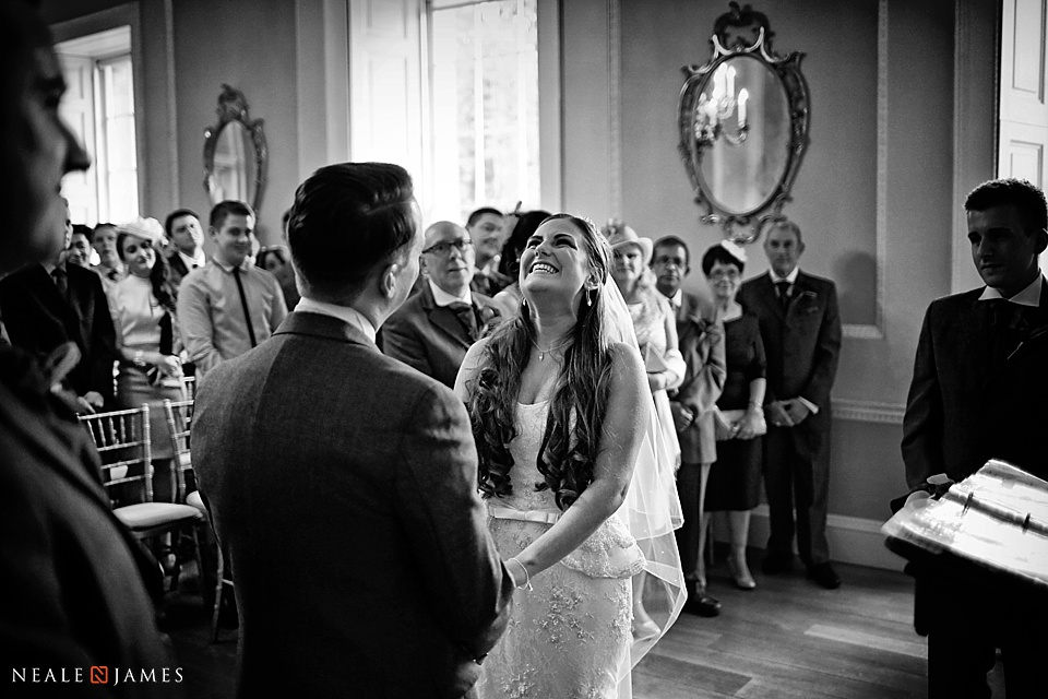 Black and white of couple just wed at Botleys Mansion