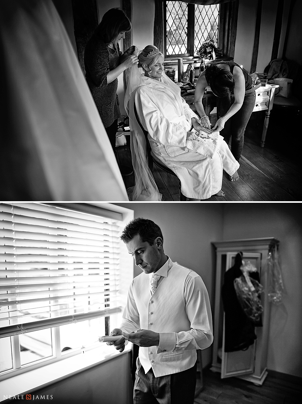 Black and white picture of bridal preparations