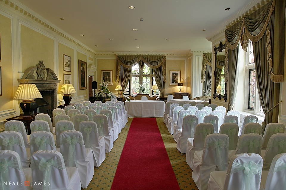 The ceremony room at Horwood House photographed in colour