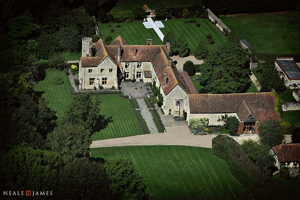 Aerial photograph in colour of Notley Abbey wedding venue