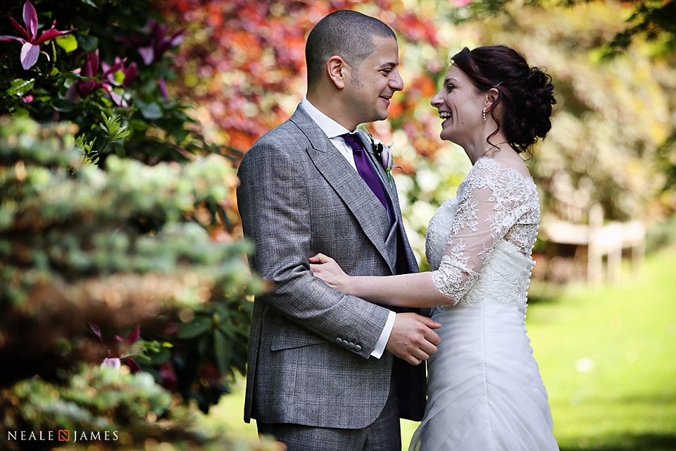 Smiling bride and groom in a colour portrait