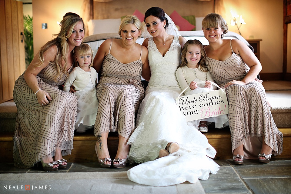 Colour portrait of bridesmaids at Rivervale Barn near Yateley