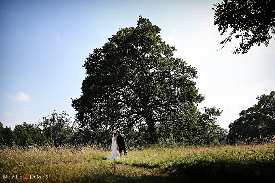A colour photograph of a bride and groom kissing in the shade of a large tree