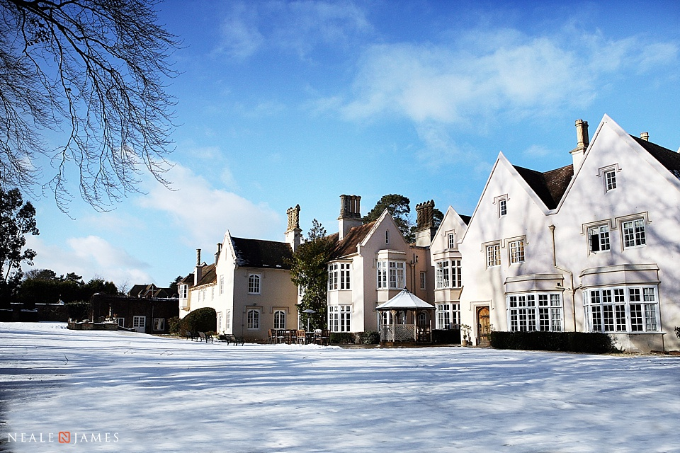 Colour image of snow covering the wedding venue Silchester House