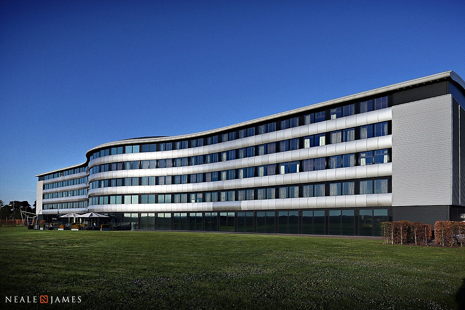 Colour picture of the Aviator Hotel in sunshine at Farnborough