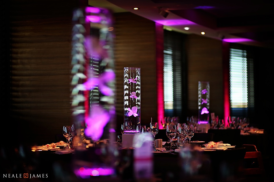 Colour image of tables set for a wedding breakfast