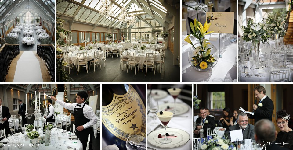 Various images of the Orangery, food, wine and flowers at a Botleys Mansion wedding