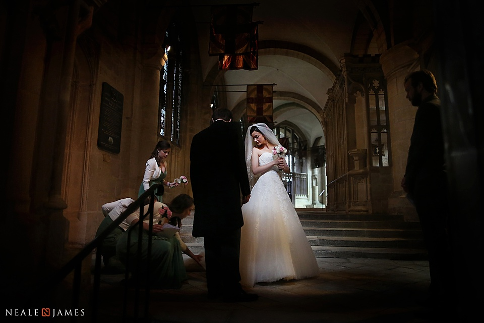 A bride in Gloucester Cathedral