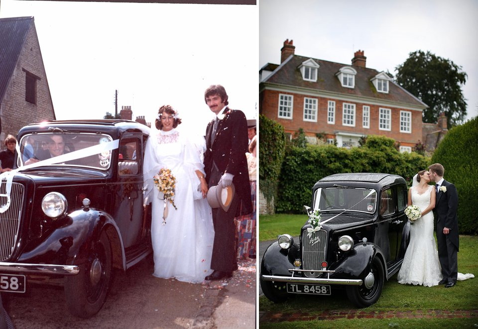 2 images of a bride and groom using the same wedding car - one set the parents of the bride