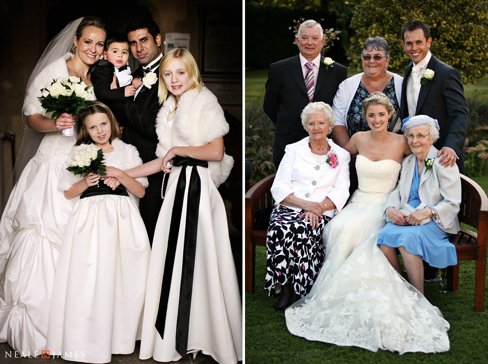 Two colour portraits of family posing together at a wedding