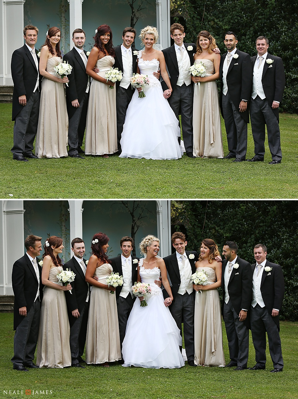 Colour image of bridal party posing together at Wasing Park in Berkshire