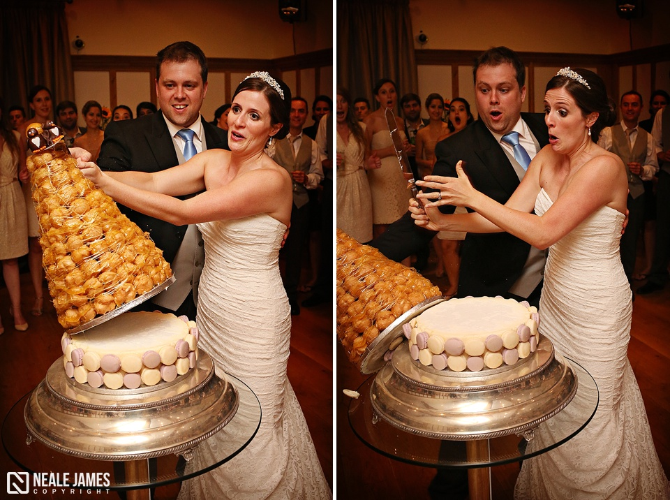 The croque en bouche falls over as bride and groom cut the cake!