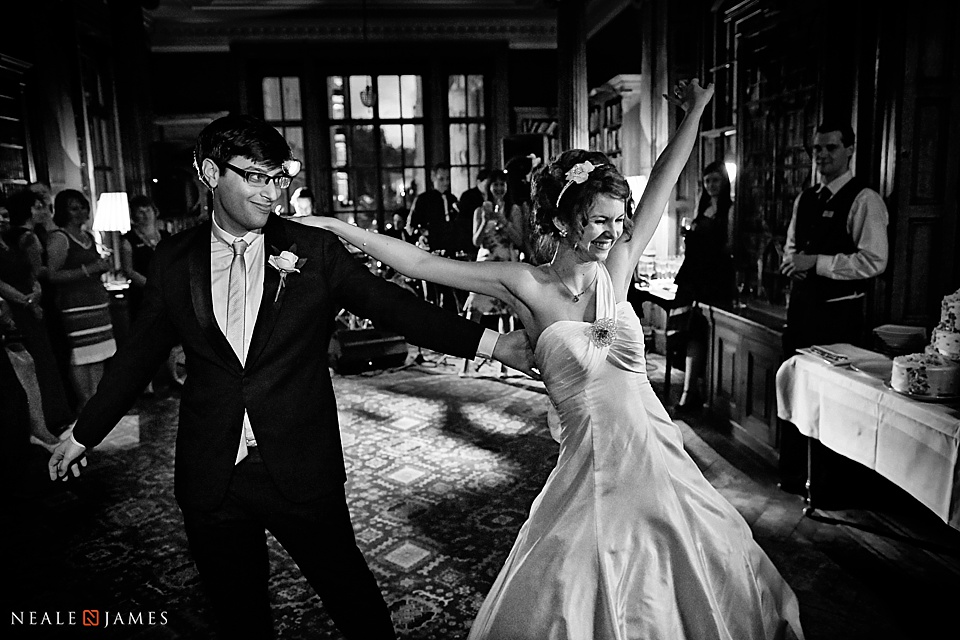Black and white of first dance at University Women's Club wedding