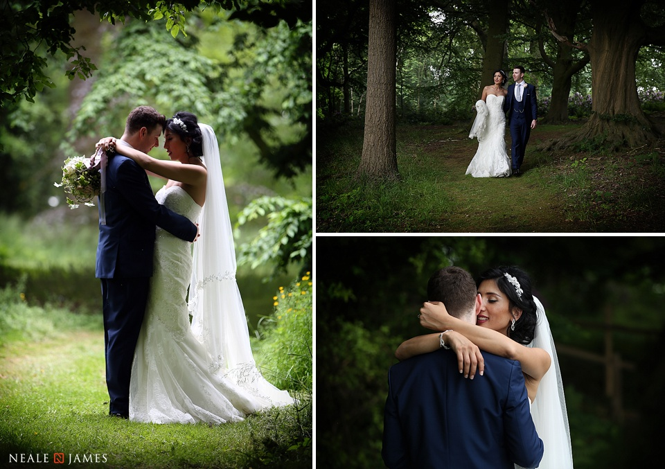 Portrait session of bride and groom at Combermere Abbey