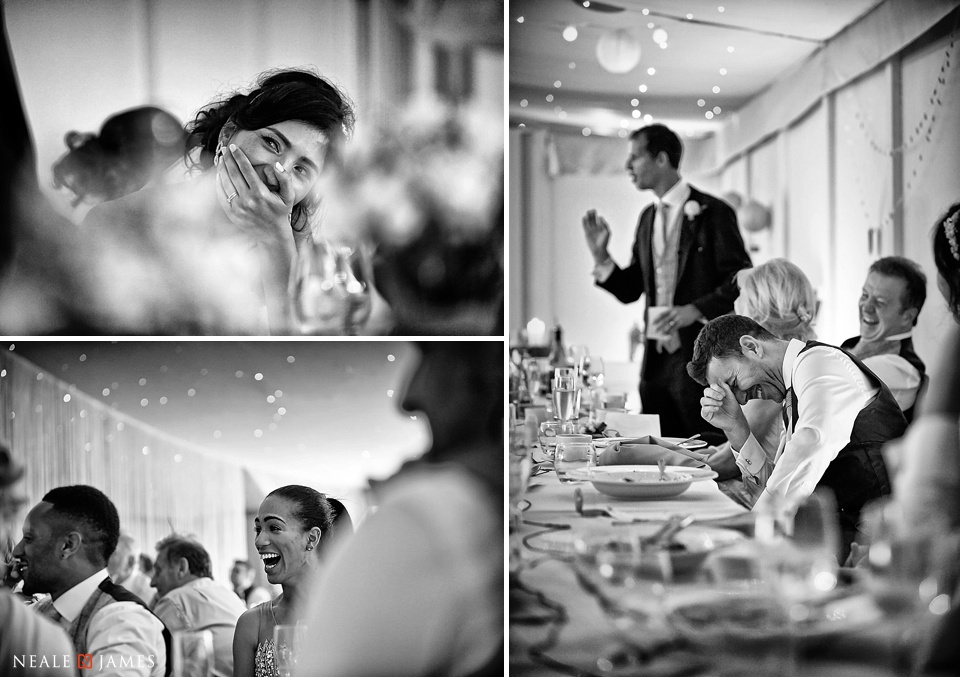 Black and white images of the speeches at Combermere Abbey