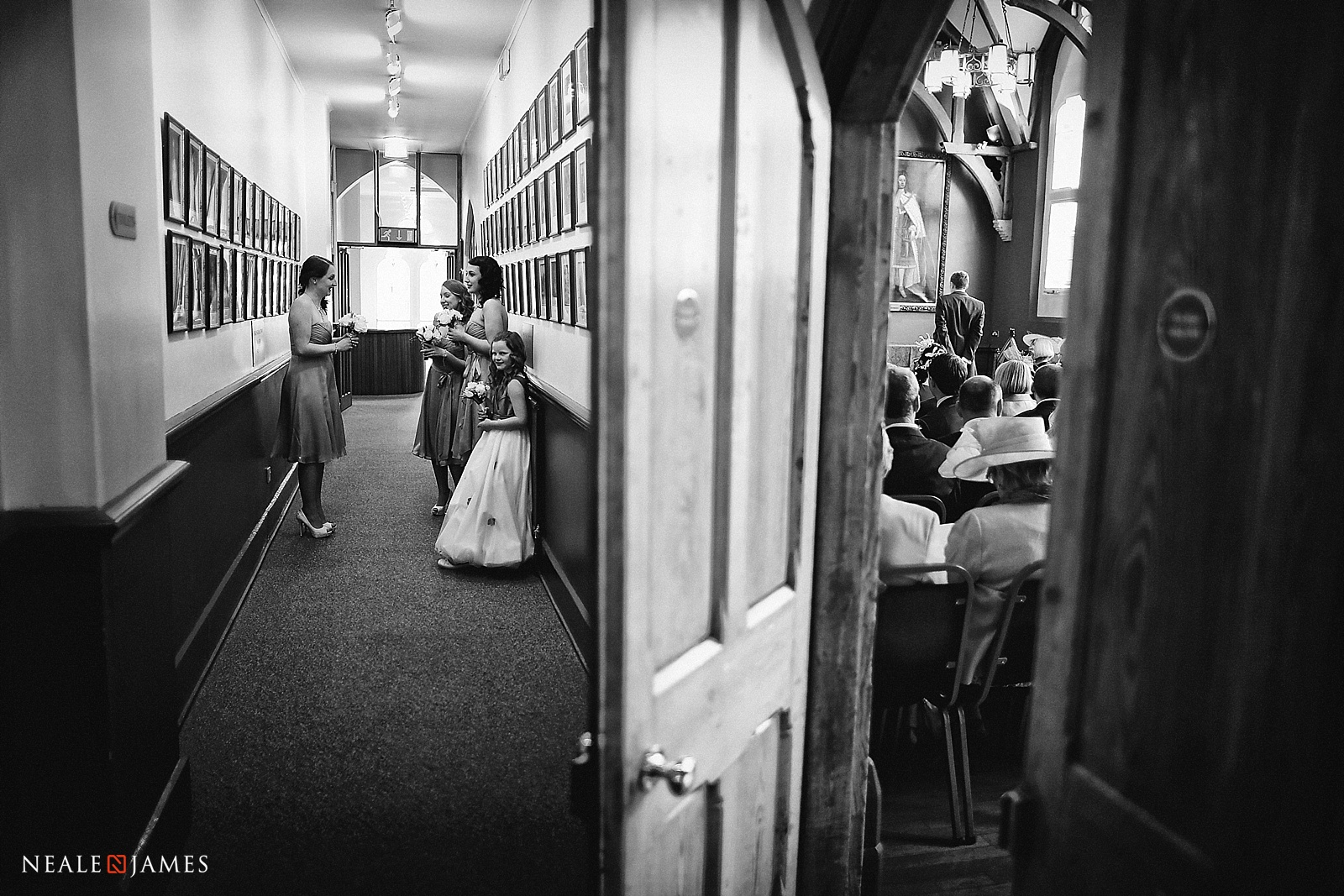 Bridesmaids waiting for the bride at a registry office picture