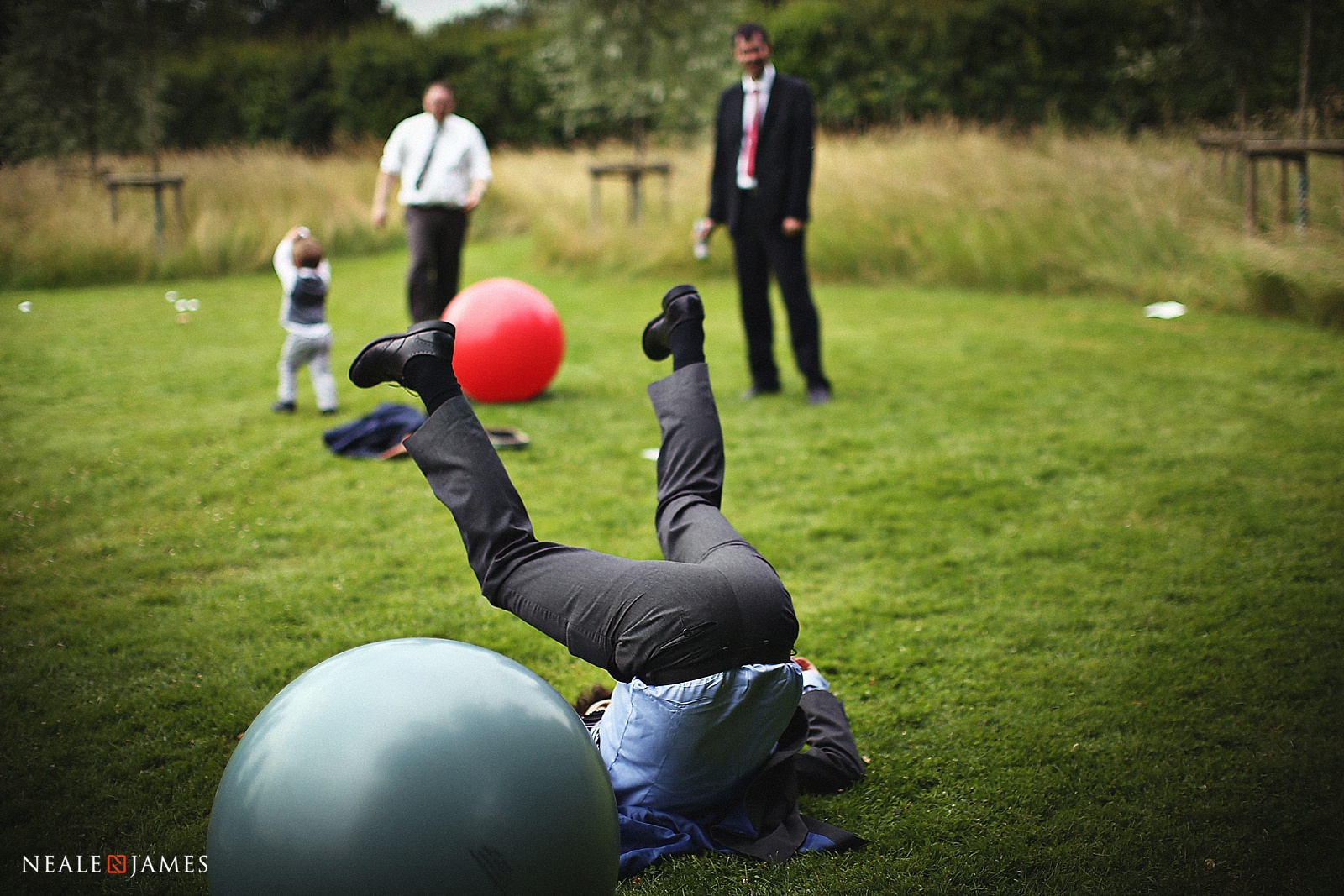 Picture of a man falling off space hopper