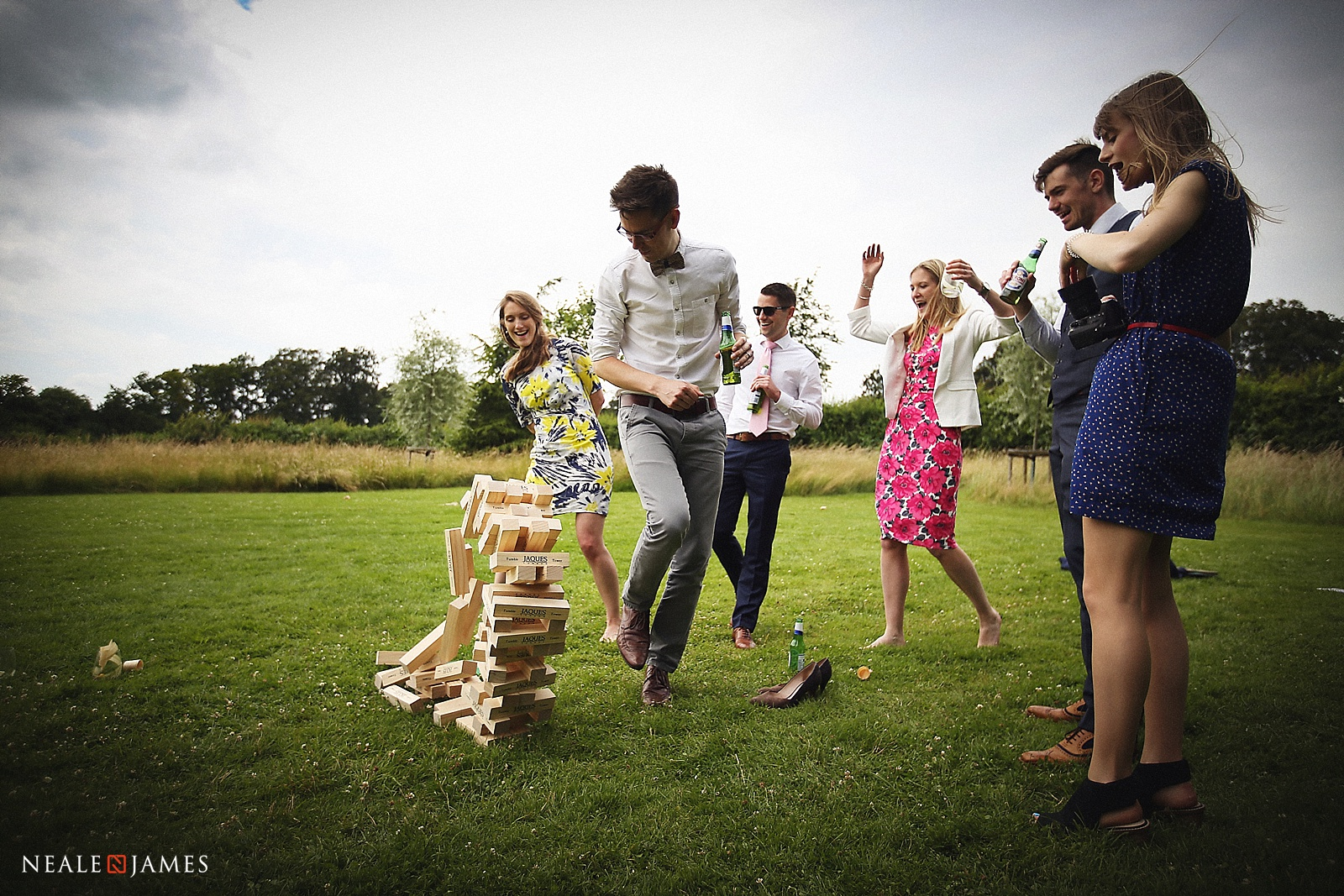 Colour picture of Jenga tumbling at a wedding