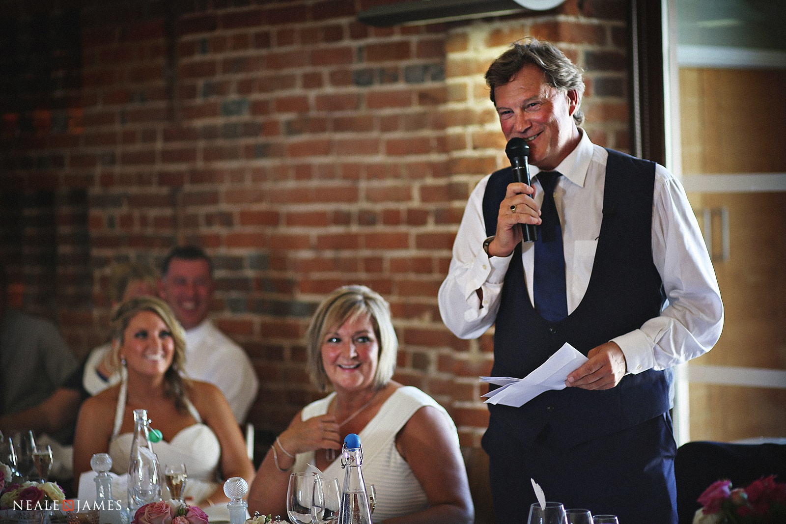 Colour picture of Glenn Hoddle making his speech at his daughter's wedding