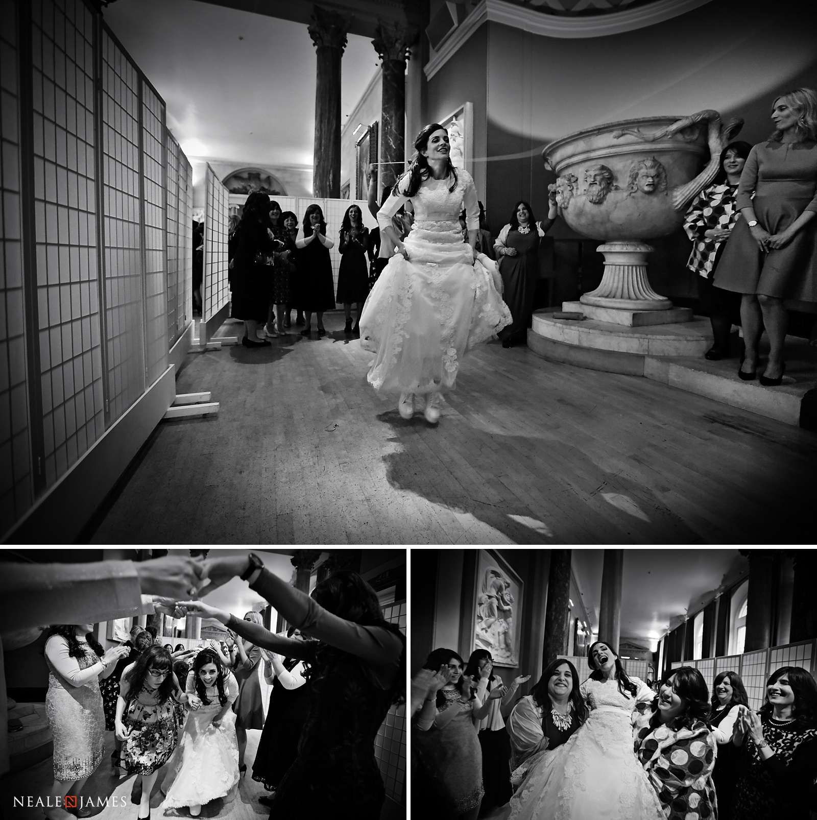 Black and white photograph of dancing during a wedding