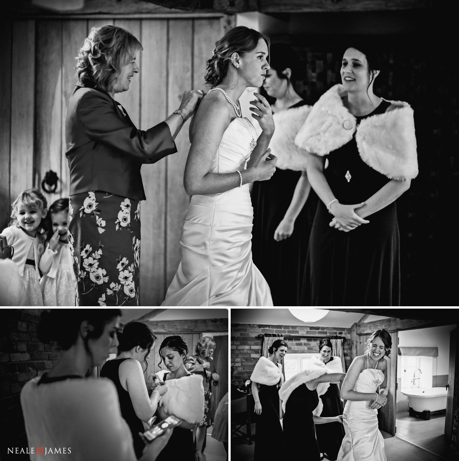 A selection of black and white images of a bride and her maids before her winter wedding at Wasing Park
