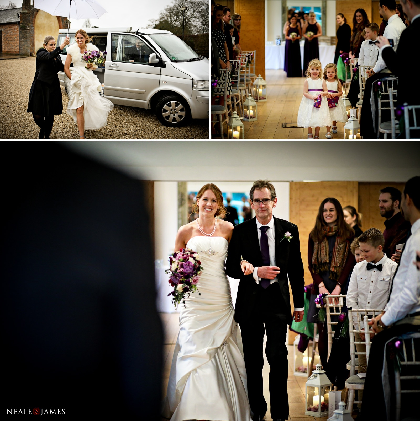 The bride arrives at the garden room in Wasing Park, where her father walks her down the ailse
