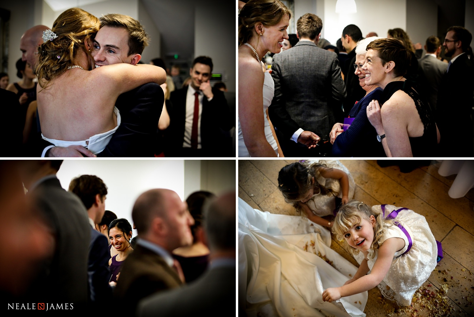Guests enjoying themselves during the wedding reception in the Castle Barn at Wasing Park