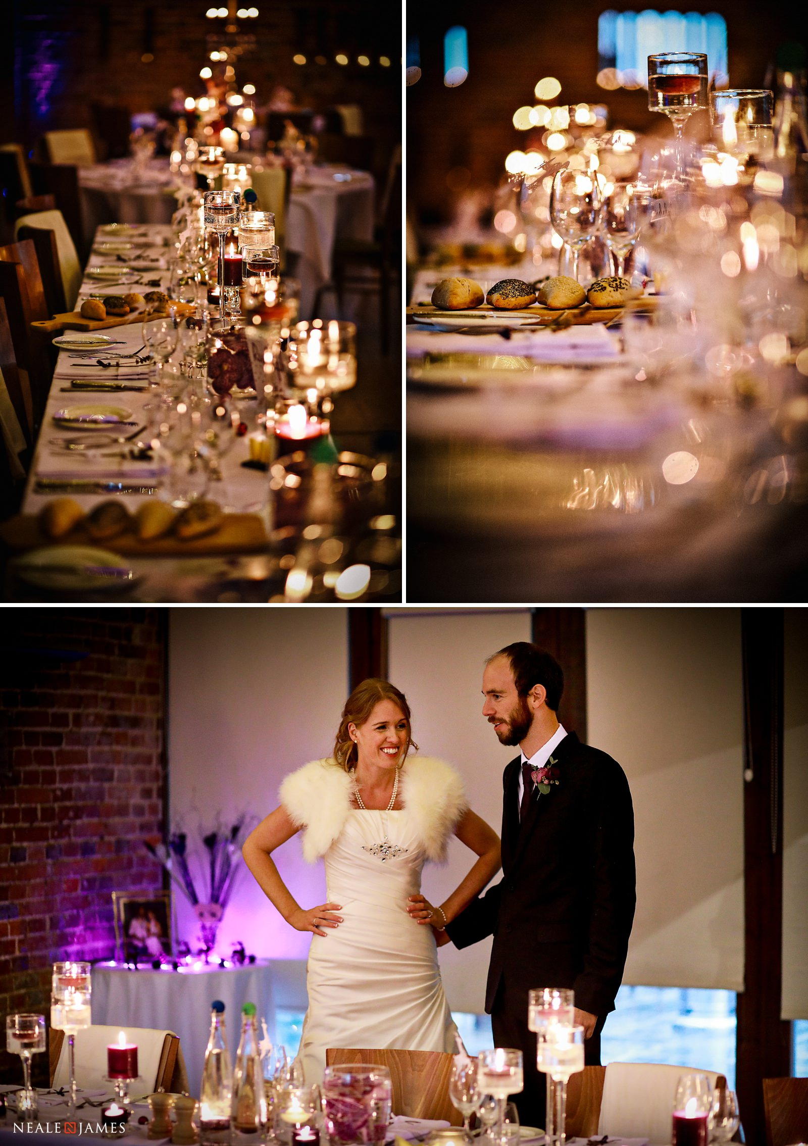 Festive place settings at this winter wedding at Wasing Park
