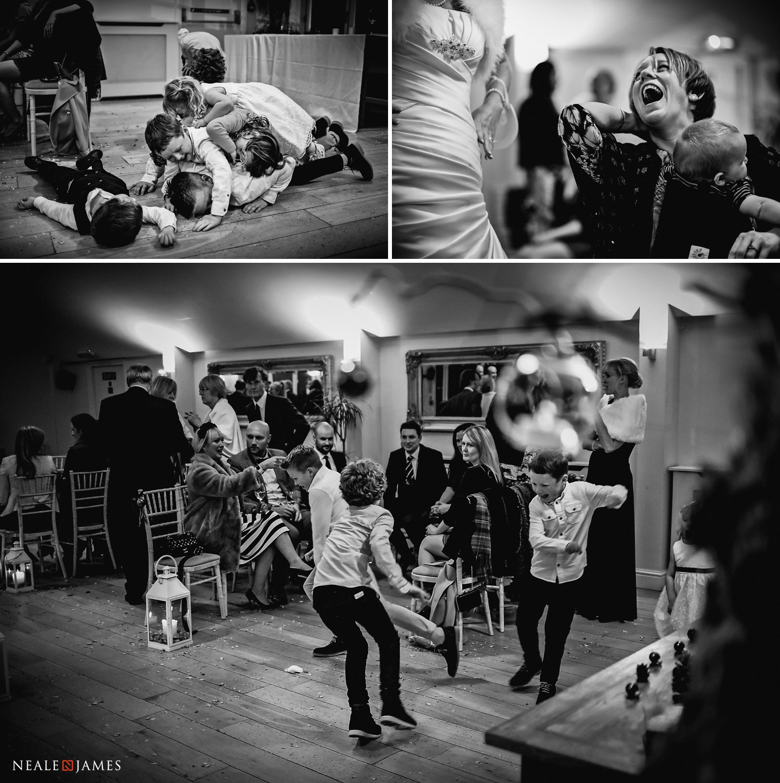 Family and friends having lots of fun at the dancefloor during a winter wedding at Wasing Park