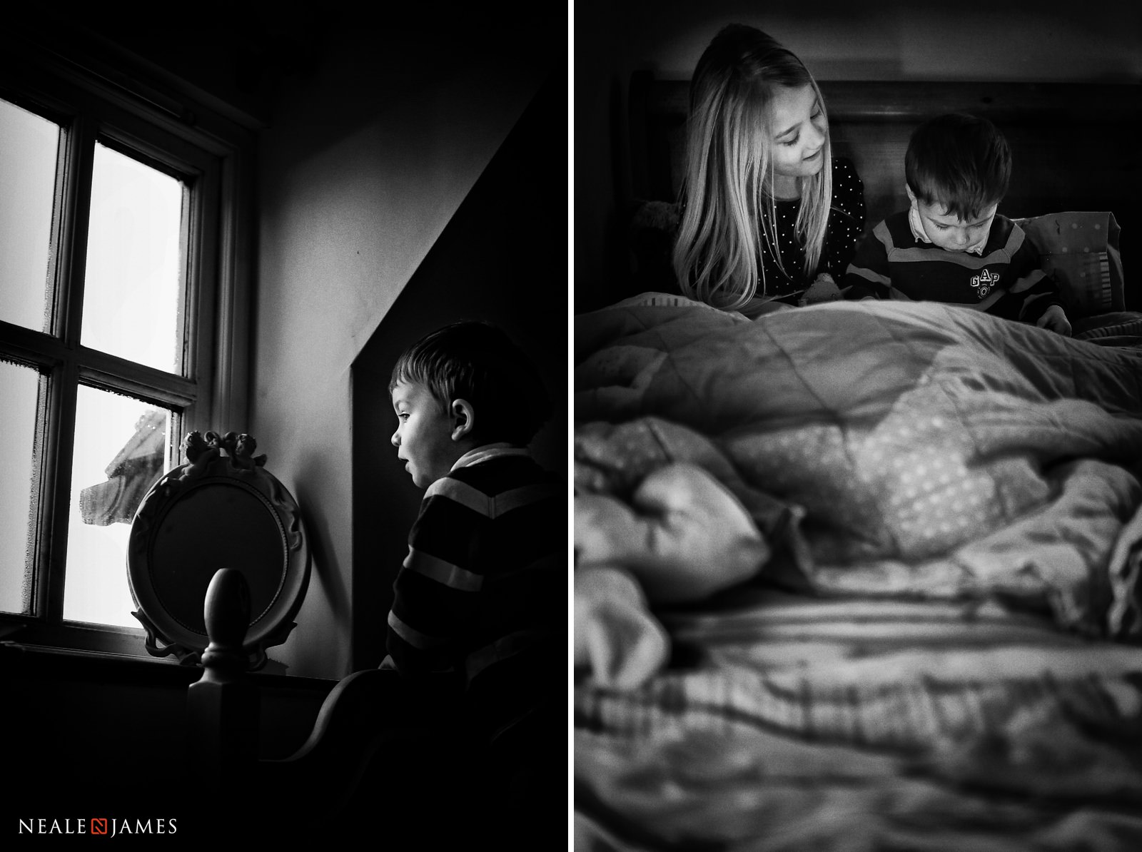 Two images taken during a family photoshoot of a young boy looking out of a window and then reading a book with his sister