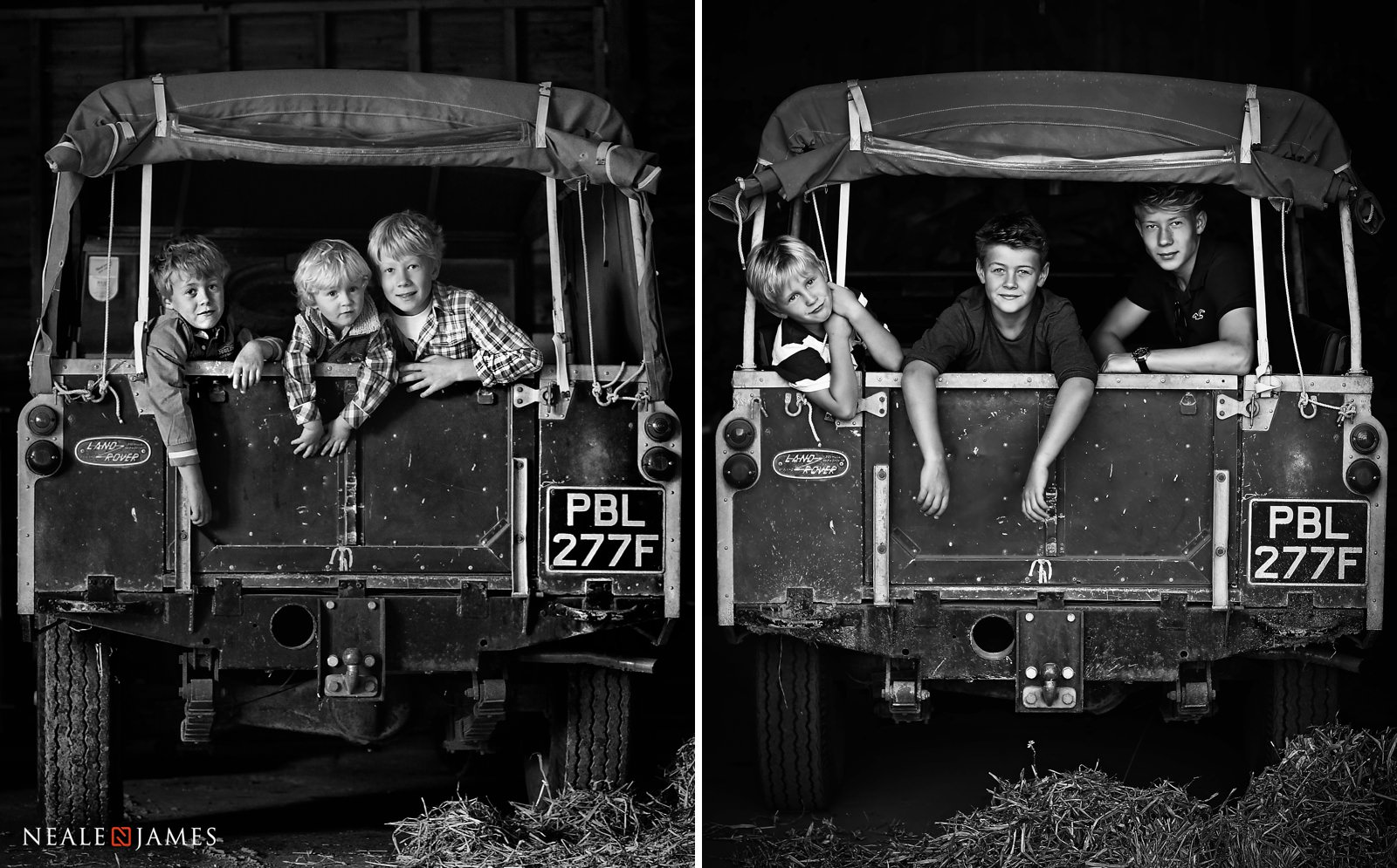 3 boys, photographed 5 years apart, sat in the back of a Land Rover Defender
