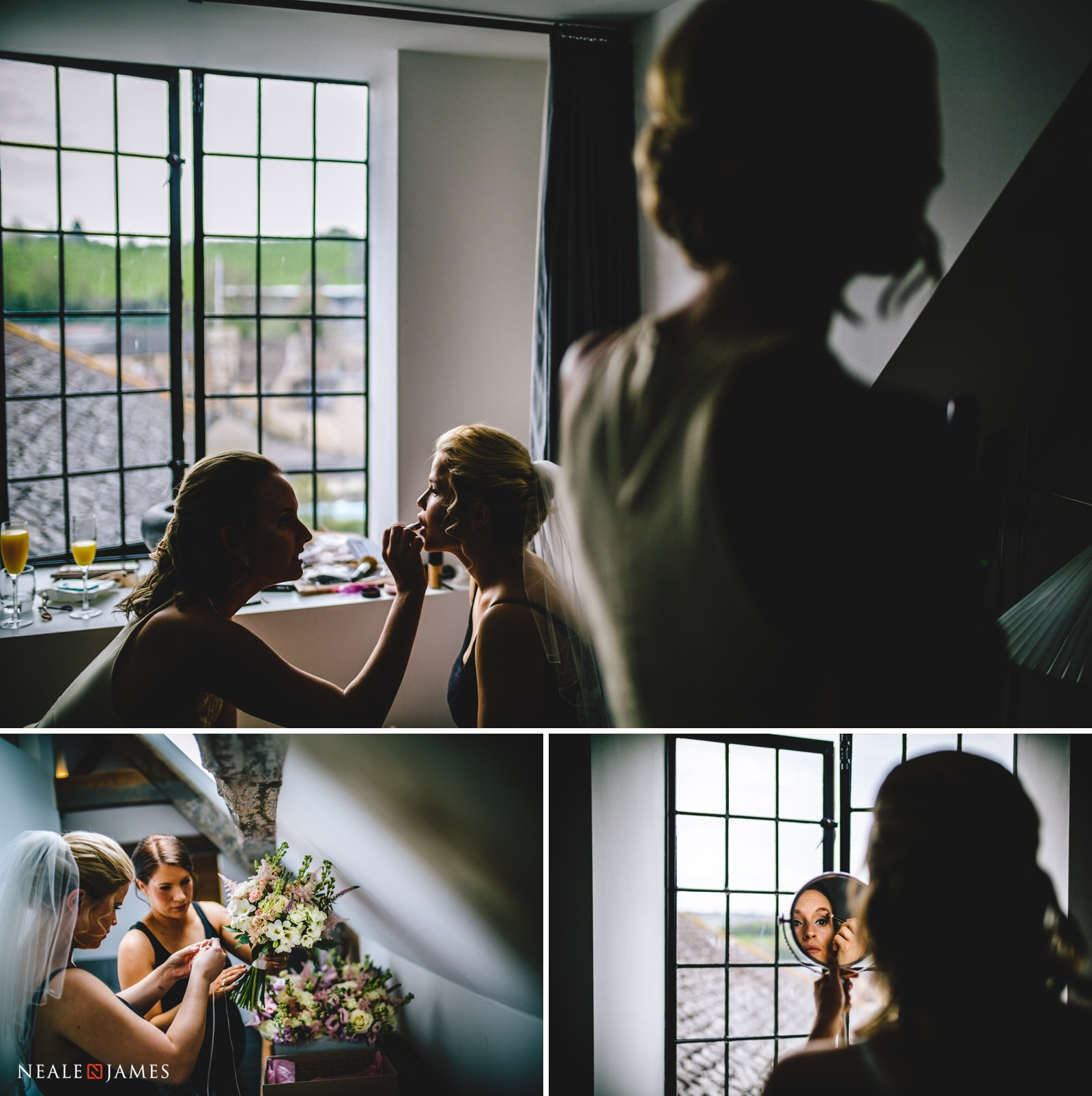 A bride her maids get ready at the beautiful riverside venue of Gants Mill in Somerset
