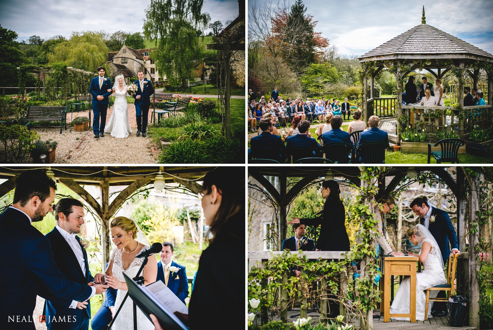 A collection of images showing the arrival of the bride and the outdoor wedding ceremony at Gants Mill in Somerset