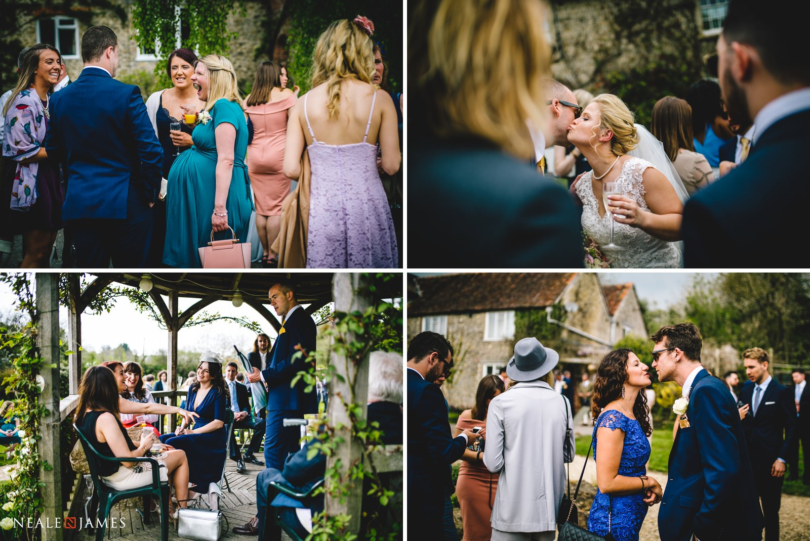 Family and friends enjoying themselves during an outdoor wedding reception at Gants Mill in Somerset
