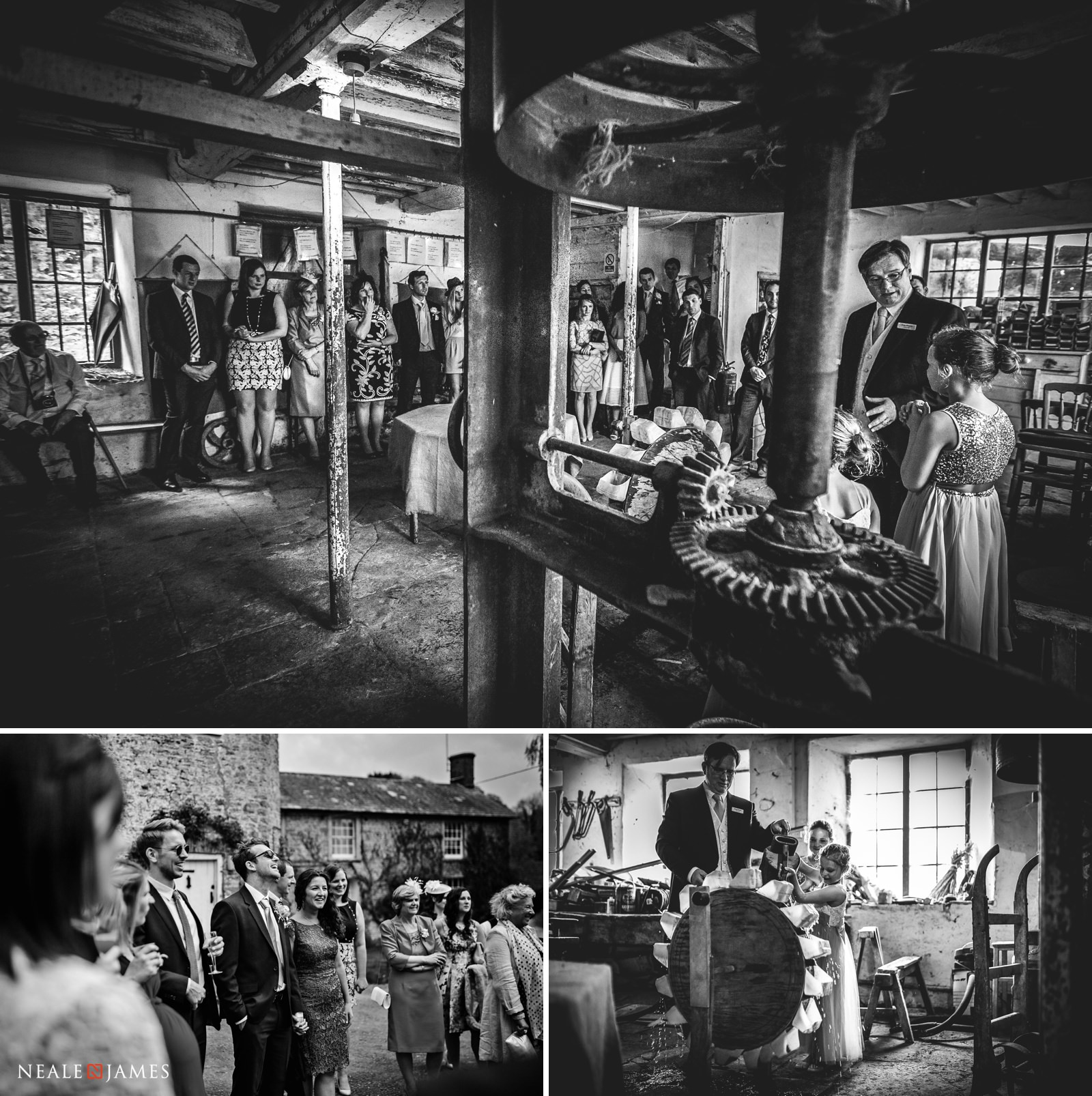 The owner of Gants Mill in Somerset gives wedding guests a guided tour of the working mill