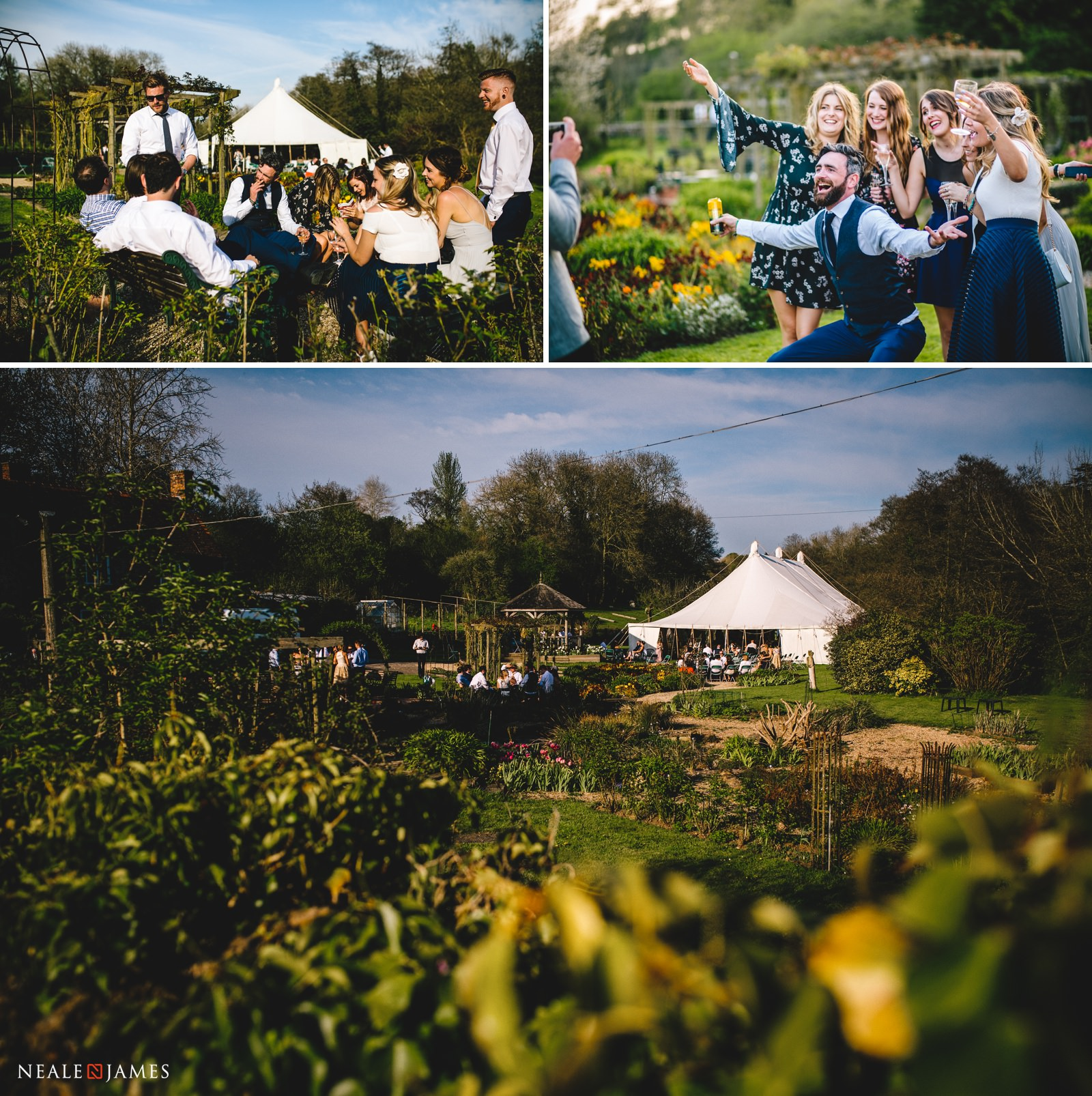 Family and friends having a fantastic time during a wedding reception in the gorgeous country cottage gardens of Gants Mill