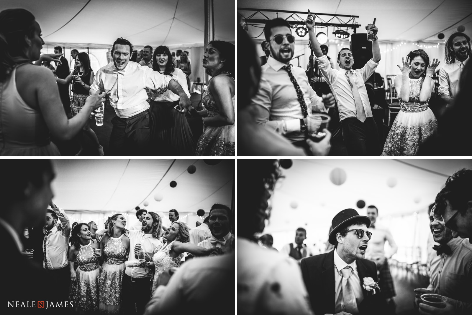 Black and white images of friends and family partying during a summer's wedding at Gants Mill