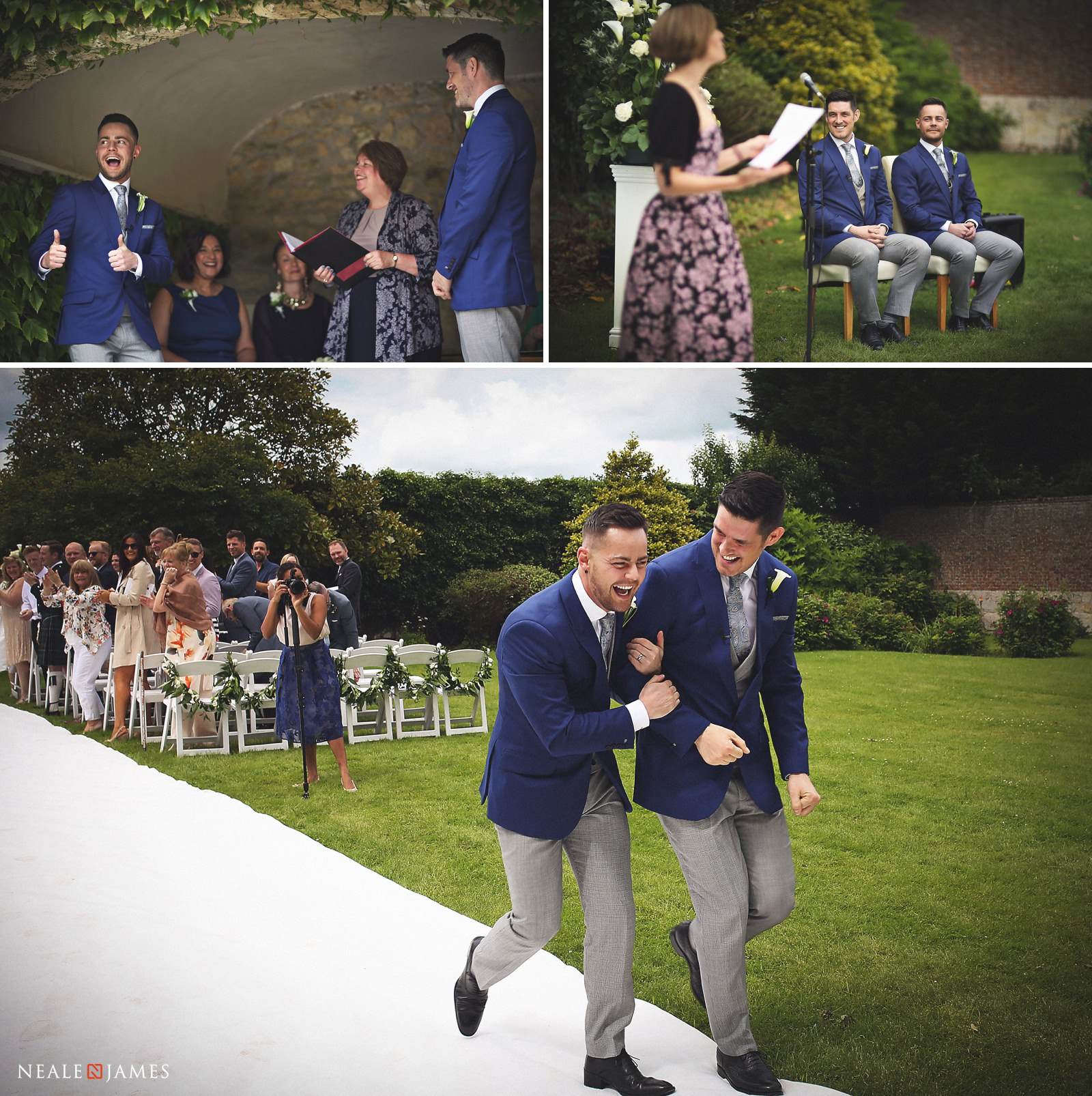 An outdoor civil ceremony at Notley Abbey