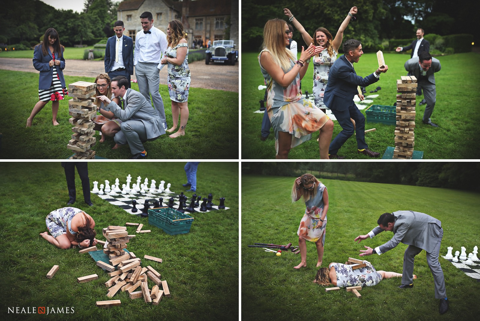 Guests enjoying garden games during a summer wedding in the grounds of Notley Abbey