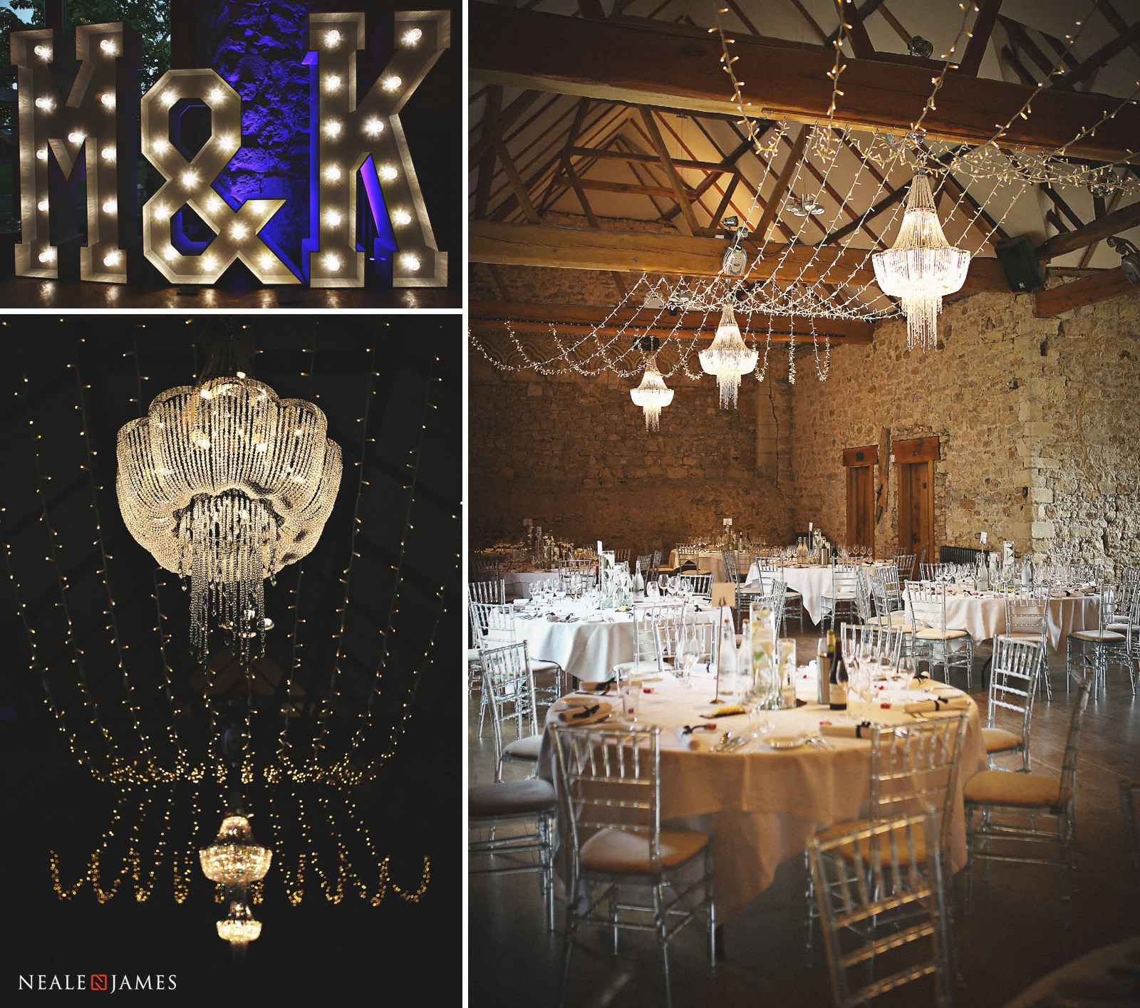 The Monk's Refectory at Notley Abbey dressed stylishly for a wedding reception