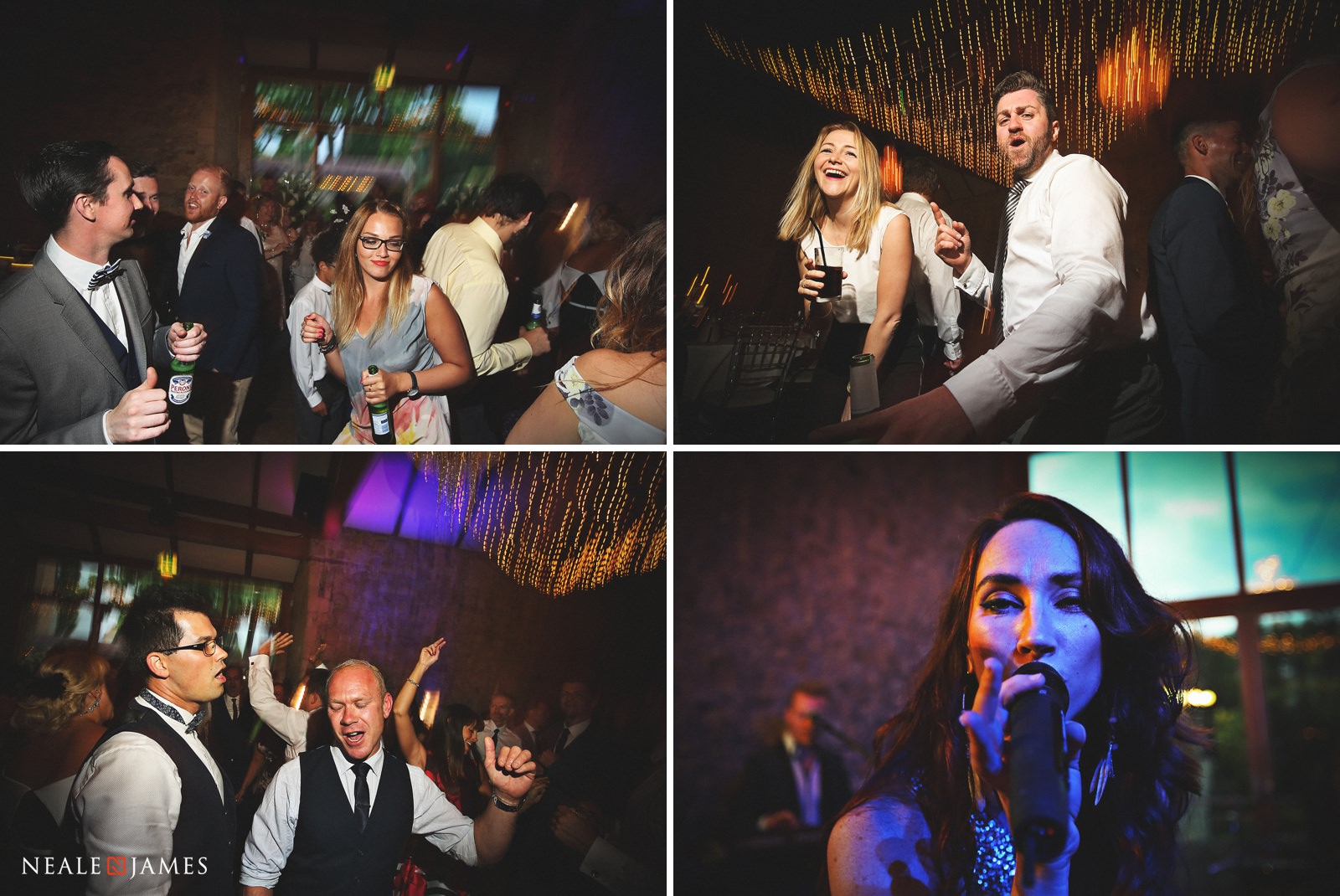 Guests hit the dancefloor as a live band plays during a wedding reception at Notley Abbey