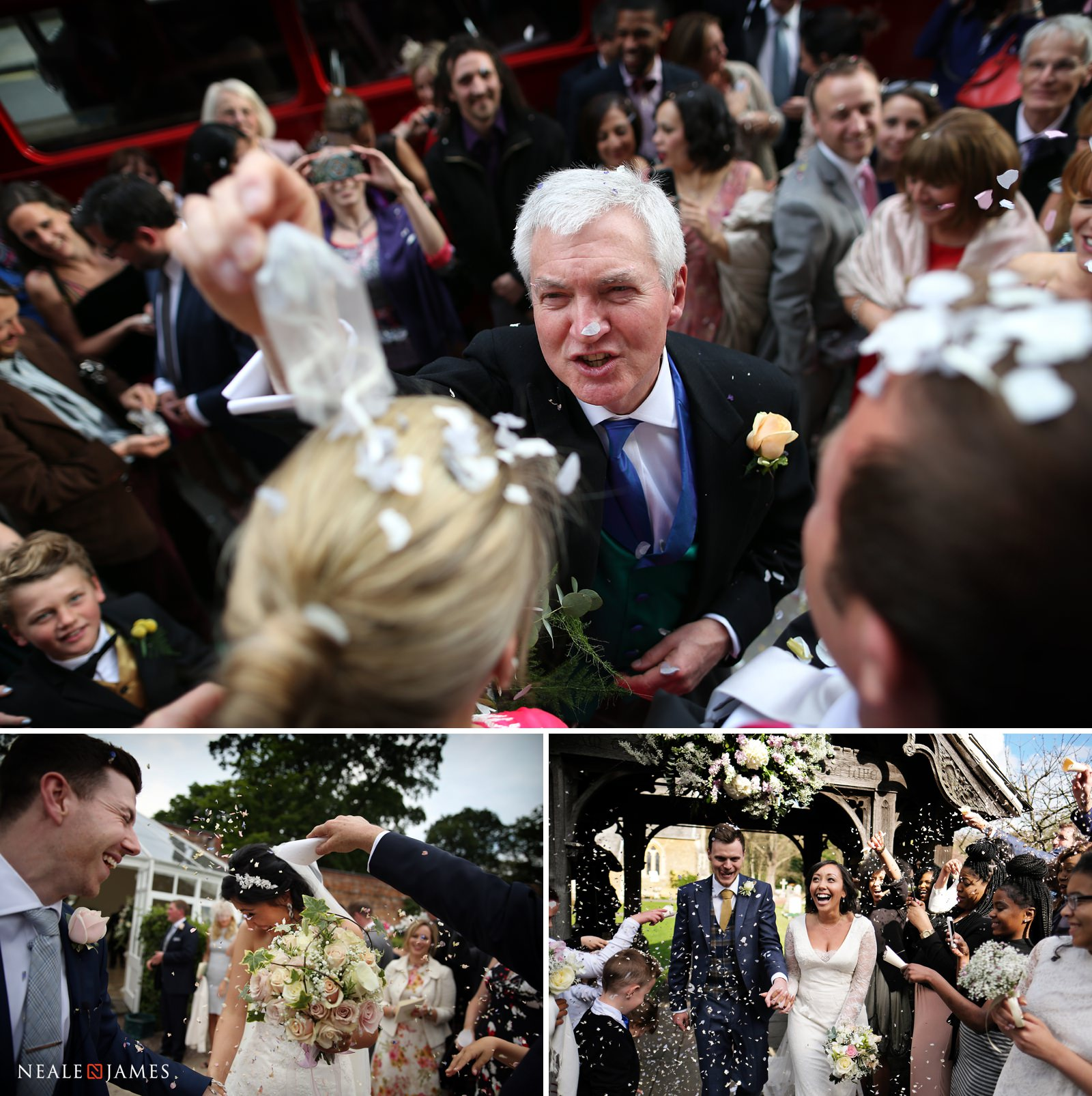 Colour picture of confetti being thrown at a wedding