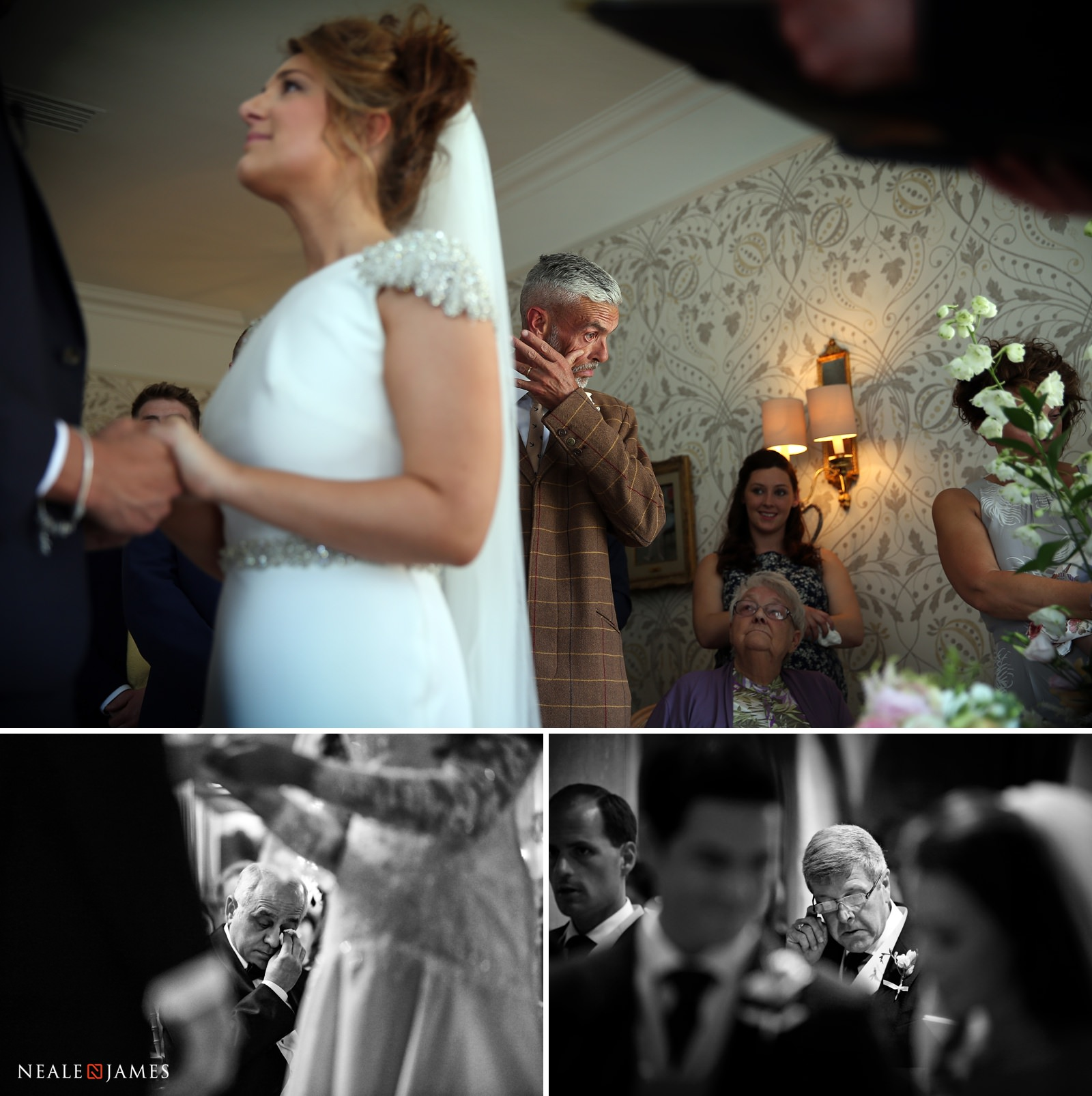 Colour photo of fathers of brides and grooms getting emotional at a wedding ceremony