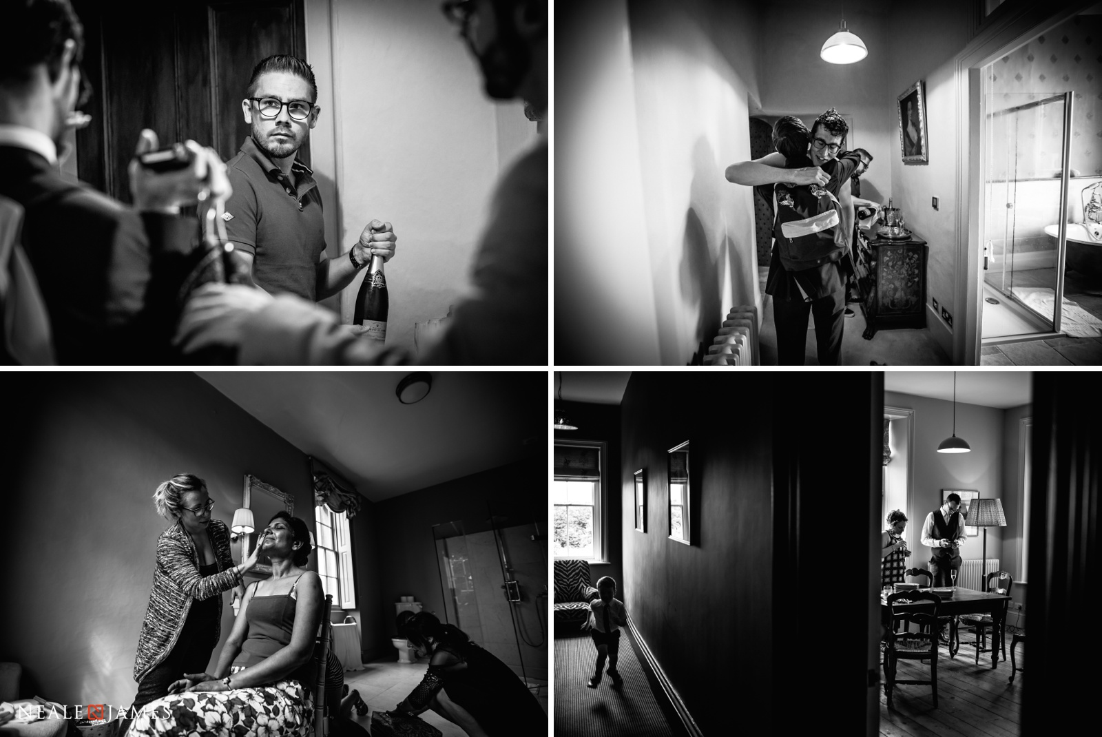 A black and white compilation of groomsmen preparing at Elmore Court for a wedding