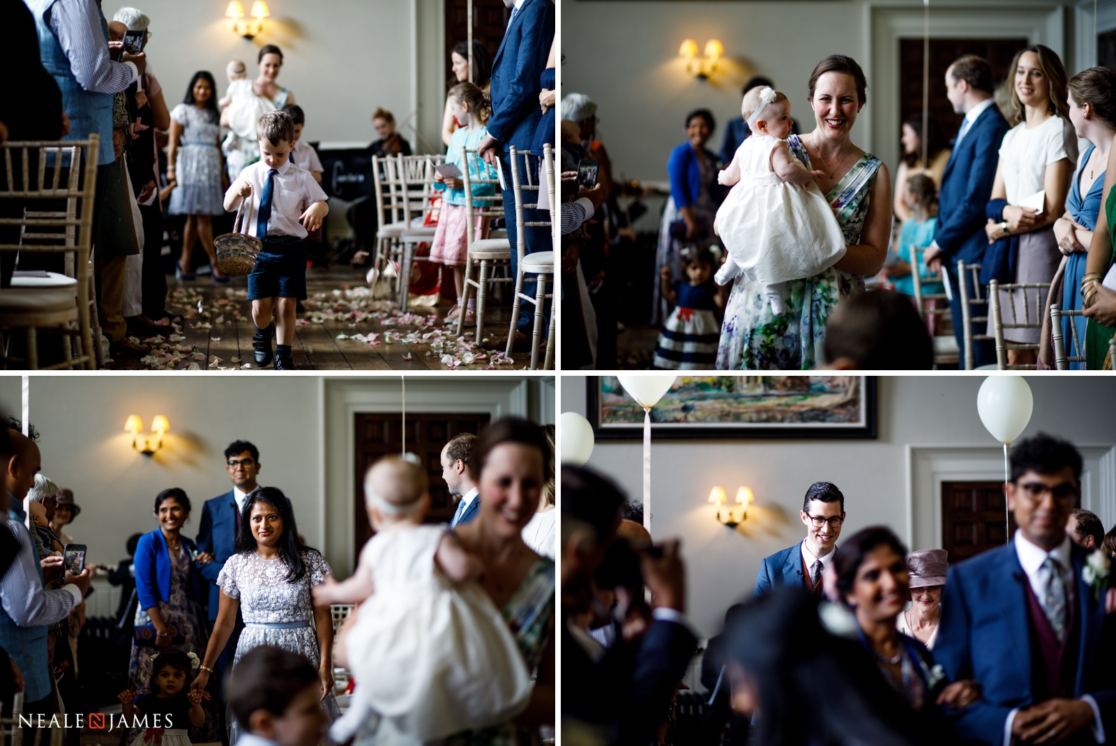 Pictures of a wedding ceremony starting at Elmore Court in Glos